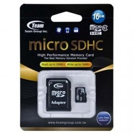 Карта памяти microSDHC 16Gb UHS-I Class 10 Team Black + SD-adapter